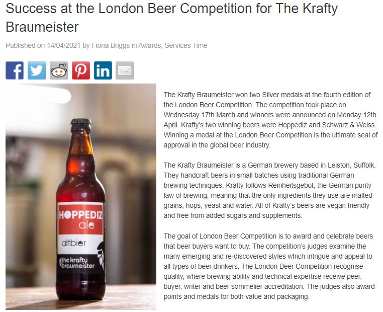 Success at the London Beer Competition for The Krafty Braumeister