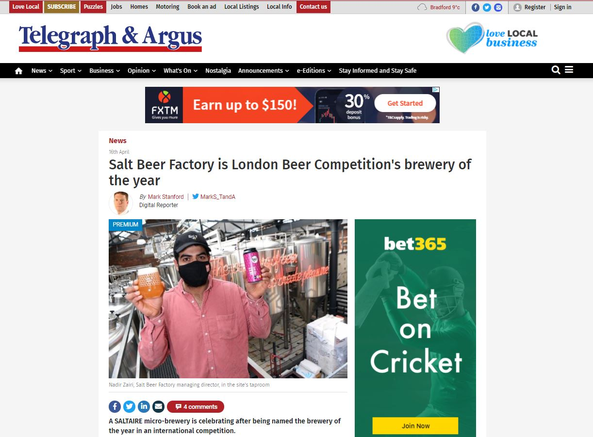 Salt Beer Factory Is London Beer Competition's Brewery Of The Year