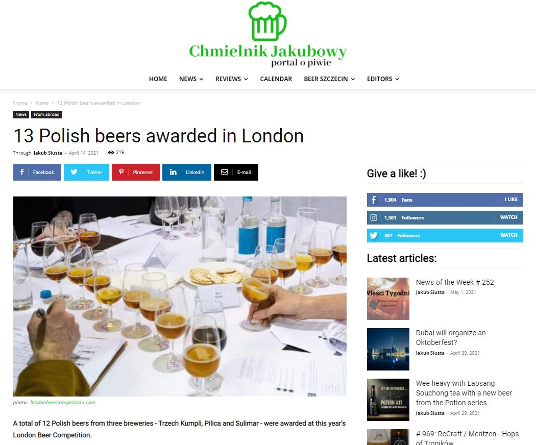 13 Polish beers awarded in London
