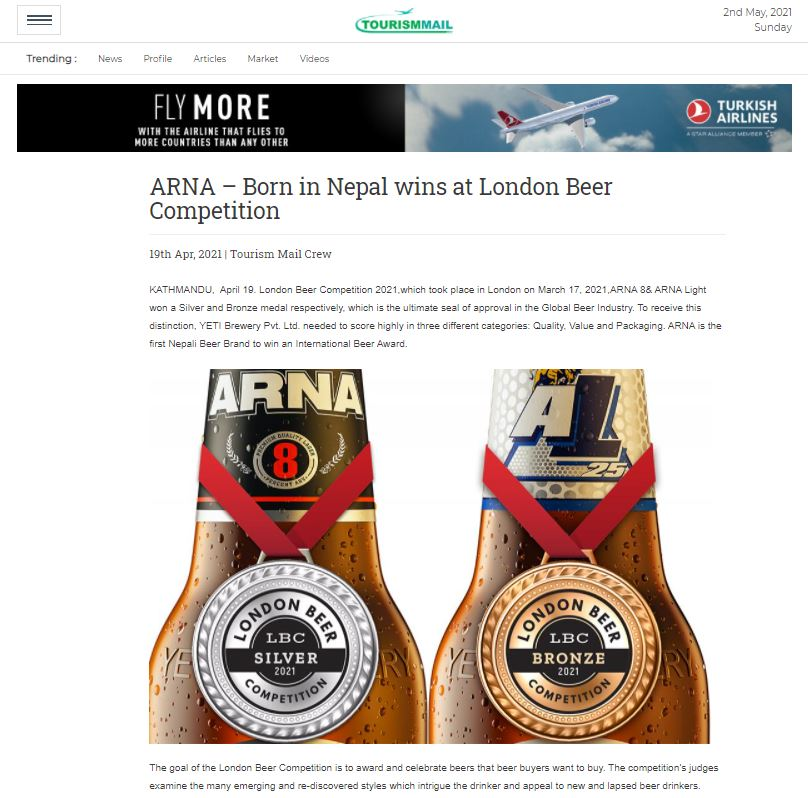 ARNA – Born in Nepal wins at London Beer Competition