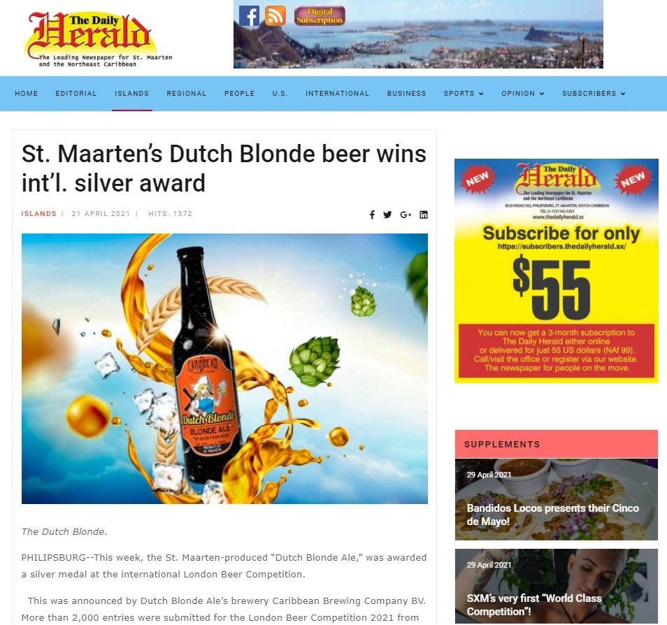 St. Maarten's Dutch Blonde Beer Wins Int'l. Silver Award