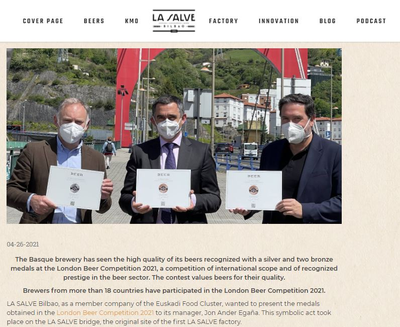 LA SALVE presents the London Beer Competition awards to the Basque Food Cluster