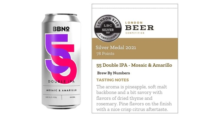 55 Double IPA - Mosaic & Amarillo by Brew By Numbers